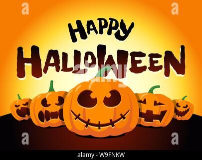 Citrouilles joyeuses fêtes d'Halloween au clair de lune. Jack O Lantern Party on Night fond flou et inscription carte de vœux modèle de conception. Illustration d'invitation effrayante de dessin animé vectoriel Banque D'Images
