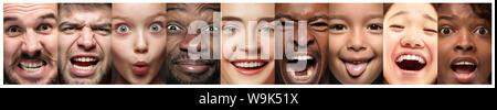 Close up portrait of young people. Les émotions humaines, l'expression faciale concept. Modèles de différentes ethnies à la caméra et au sourire, crier, en colère et heureux. Collage créatif pour votre annonce. Banque D'Images