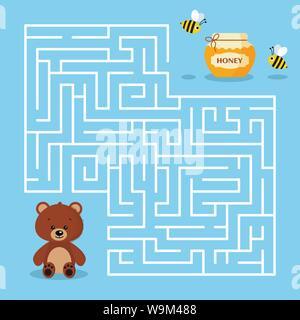 Jeu de labyrinthe pour les enfants d'âge préscolaire avec un labyrinthe Cartoon cute ours brun pot de miel et les abeilles. Le miel de l'ours est à la recherche d'illustration vectorielle. Banque D'Images