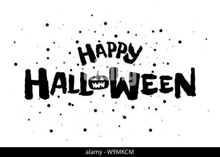 Happy Halloween effrayant Texte de bannière avec Jack O Lantern citrouille spooky. Carte de vœux Vector illustration invitation modèle de conception Banque D'Images