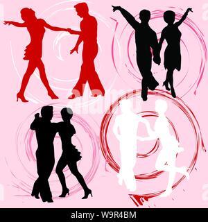 Collection de silhouettes vecteur de personnes dansant Banque D'Images