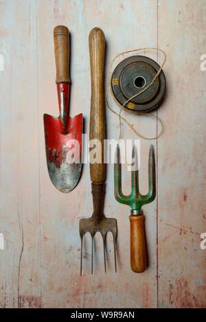 Plusieurs outils de jardinage Banque D'Images