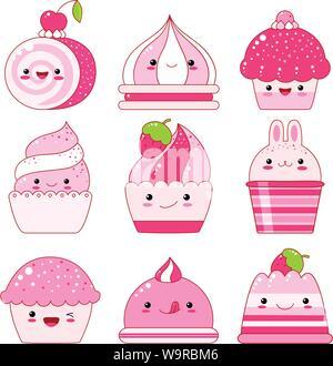 Vector set de vanille, de bleuet, de cassis, gelée de fraises, de la crème glacée, les guimauves, cupcake avec berry. Dans le style kawaii avec des visages souriants, rose che Banque D'Images