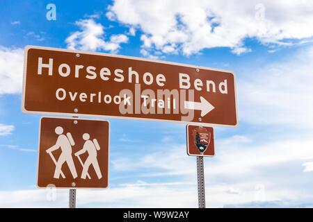Horseshoe Bend panneau indiquant à oublier trail Banque D'Images