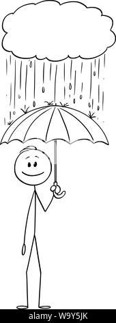 Vector cartoon stick figure dessin illustration conceptuelle de l'homme ou homme-debout avec parapluie sous la pluie tombant de petite tempête nuage. Banque D'Images