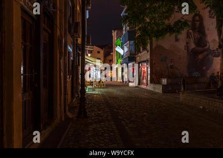 La vie nocturne dans le quartier Kapana, Plovdiv, Bulgarie, Europe ville Banque D'Images
