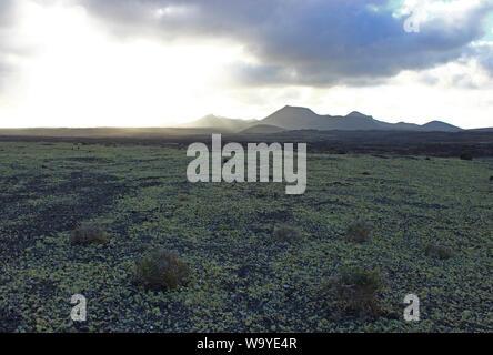 La fin d'une journée de mars sur l'immensité de l'île de Lanzarote (Canaries, Espagne). Les derniers rayons de soleil sur les volcans Banque D'Images