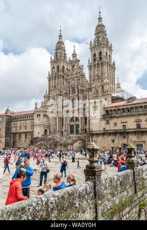 Santiago de Compostela, Espagne. août 9, 2019: Santiago de Compostela Cathedral view à partir de la place Obradoiro. Cathédrale de Saint James, de l'Espagne. La Galice,