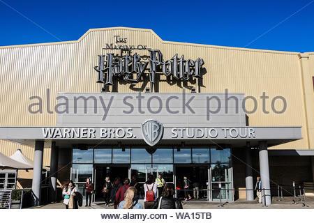 Royaume-uni, Angleterre, Londres, 05 octobre 2016 - Leavesden: l'entrée principale de la Warner Brothers Studio tour Hertfordshire, Londres - la fabrication Banque D'Images