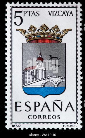 Vizcaya, Gascogne, Pays Basque, armoiries, timbre-poste, Espagne, 1966 Banque D'Images