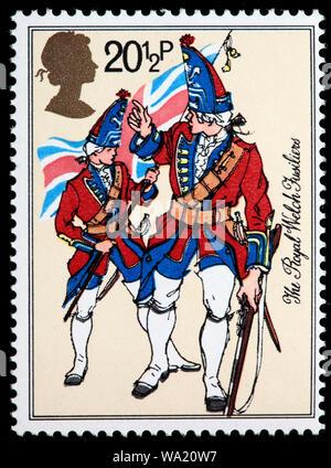 Royal Welch Fusiliers, uniforme de l'armée britannique, timbre-poste, UK, 1983