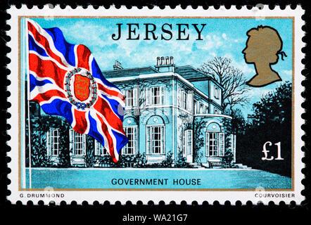 La maison du gouvernement, timbre-poste, UK, Bailliage de Jersey, 1976