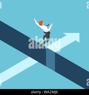 Télévision 3D isométrique businessman saute au-dessus de l'écart entre les falaises. Les risques pour l'entreprise et concept de leadership. Banque D'Images