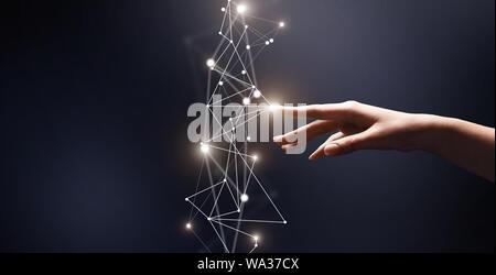Toucher du doigt la femme réseau 3D avec des points sur bleu Banque D'Images