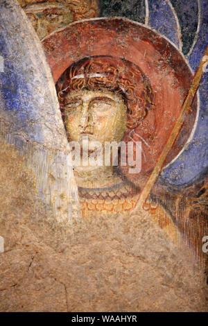 Abu Gosh monastère bénédictin. Les fresques ont été peintes par un artiste Byzantin entre 1150 et 1175. Jérusalem. Israël. Banque D'Images