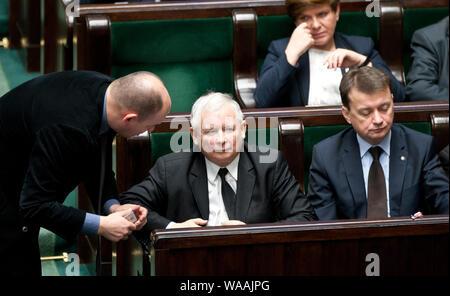 24. 01. 2014 Jaroslaw Kaczynski lors de la séance de la diète. Varsovie, Pologne. Sur la photo: Jaroslaw Kaczynski Banque D'Images