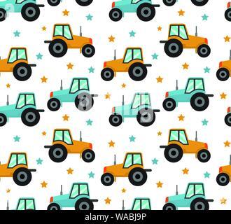 Modèle logique du tracteur. Voitures bébé garçons pour répéter la texture, l'arrière-plan sans fin. Vector illustration Banque D'Images