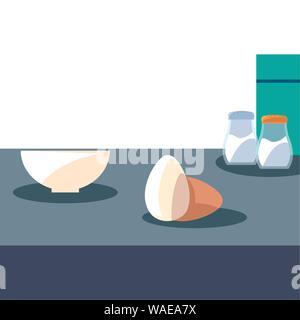 Bol oeufs sel poivre la préparation des aliments La cuisson vector illustration Banque D'Images