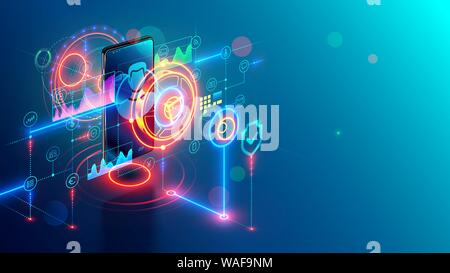 Services bancaires mobiles Internet concept isométrique. Banque en ligne sur le téléphone. Web Sécurité paiement par mobile app sur smartphone. La sécurité numérique financial Banque D'Images