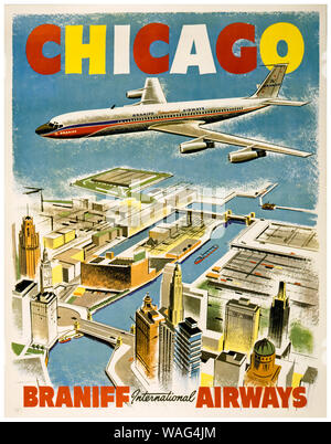 Vintage travel poster, Chicago, Braniff International Airways, affiche, 1950-1960, 1950 Banque D'Images