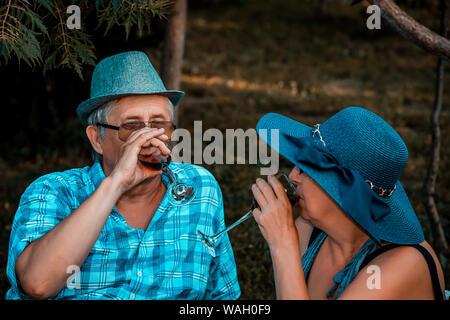 Happy senior couple aimant boire du vin et d'avoir un grand temps ensemble sur un pique-nique dans le parc Banque D'Images