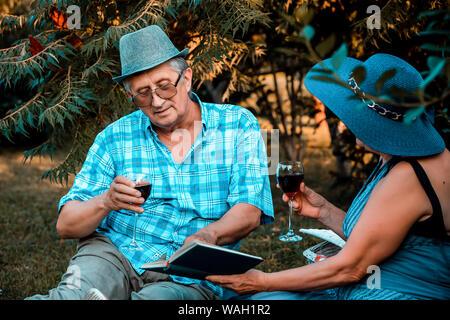 Senior couple drinking wine et j'ai un grand moment lors de la lecture de livre ensemble sur un pique-nique dans le parc Banque D'Images