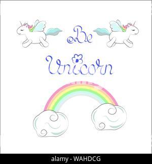 Être licorne, carte avec le flying unicorn adorable et un arc-en-ciel. Peut être utilisé pour t-shirt print, Kids wear fashion design, carte d'invitation de douche de bébé. Banque D'Images