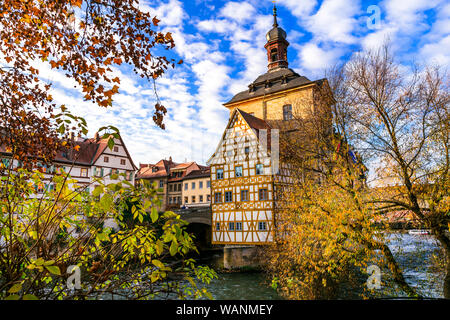 Belle vieille ville de Bamberg, Bavière, en Allemagne.
