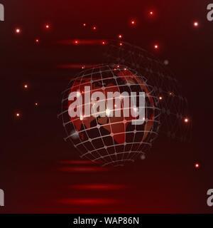 Abstract background vector rouge high tech connexions rougeoyants rouges dans l'espace avec des particules, big data, générée par ordinateur abstract background. Banque D'Images