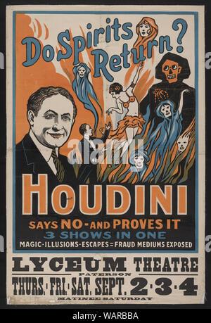 Retour les esprits? Houdini dit non - et il s'avère 3 montre en un seul: la magie, illusions, s'échappe, la fraude médiums exposés. Banque D'Images