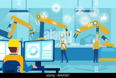 Vecteur d'un ingénieur responsable de l'automatisation, contrôle des bras du robot sur une ligne d'usine Banque D'Images