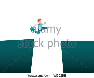 Défi de l'entreprise notion de vecteur avec businessman jumping sur gap. Symbole de la motivation, la recherche de solutions, de surmonter les obstacles et succès.. Banque D'Images