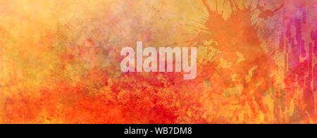 Résumé fond coloré dynamique avec les projections de peinture et de texture grunge orange vif, rouge jaune et violet couleurs rose avec beaucoup de grungy textur Banque D'Images