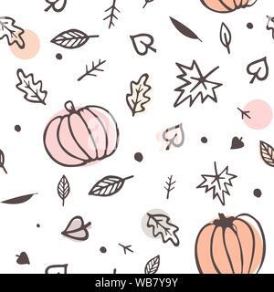 Modèle sans couture d'automne feuilles d'automne jaune et vert et les citrouilles. Vector ornament isolé sur fond blanc. Banque D'Images
