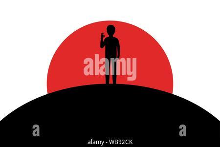 Un homme montre un geste d'accord, un mec se dresse sur une colline, coucher de soleil, silhouette art image, vecteur illustration isolé sur fond blanc Banque D'Images