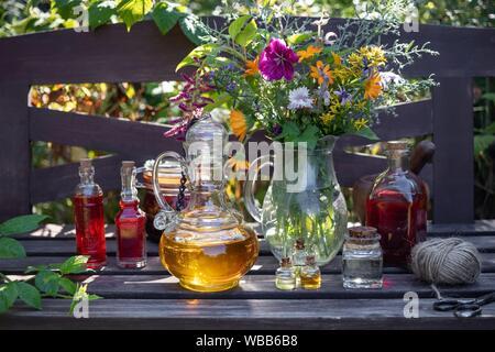 Bouteilles d'huiles essentielles et d'herbes fraîches avec des plantes médicinales dans un jardin. Banque D'Images