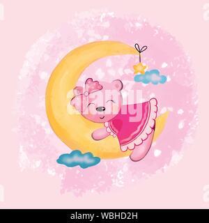 Vector illustration d'un animal ours fille dormir sur un croissant de lune dans le ciel parmi les nuages dans des tons roses Banque D'Images
