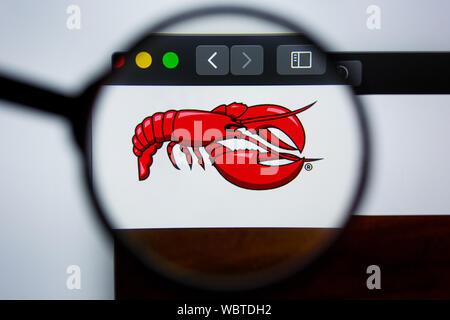 Los Angeles, Californie, USA - 21 2019 Editorial: Jule d REDLOBSTER.COM Page d'accueil du site. Logo du homard rouge visible sur l'écran. Banque D'Images