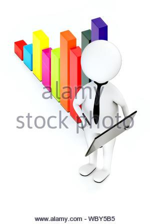 3d white guy , neck tie holding a tablet et un stylo -bar graph - le rendu 3D Banque D'Images