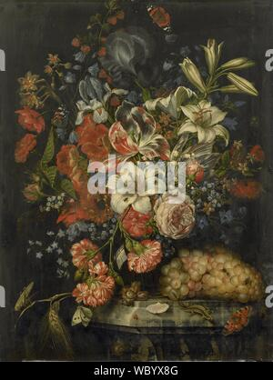 Nature morte avec fleurs et fruits, Ottmar Elliger (I), 1671.jpg - WBYX8G Banque D'Images