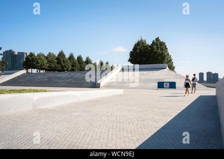 Quatre Libertés Park, vue à l'été le grand hall menant à la Franklin D. Roosevelt Four Freedoms Park, Roosevelt Island, New York City, USA