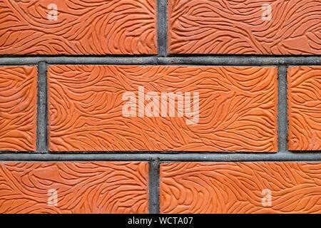Mur de brique rouge teinté arrière-plan. Un motif de branches sculptés sur la surface. La texture ondulée. L'espace de copie dans la partie centrale de l'image. Construction piscine ba Banque D'Images