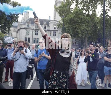 Westminster, London, UK. Août 28, 2019. Westminster, Londres, 28 août 2019.Des milliers de manifestants indignés se rassembler à College Green, la place du Parlement et, plus tard, à l'extérieur de Downing Street à Westminster pour le coup d'un 'Stop' protester contre la prorogation du Parlement en septembre, qui a été aujourd'hui commandés par le gouvernement, et approuvé par la Reine à Balmoral. Credit: Imageplotter/Alamy Live News