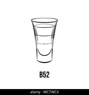B 52 cocktail vector illustration noir et blanc. Tourné en couches, de boissons avec trois ingrédients. Liqueur alcoolique dessin à l'encre. Boisson forte, dans le verre. Club de nuit menu, élément de design de l'affiche