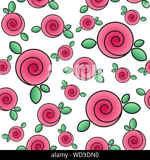 Modèle sans couture avec de belles roses. Image d'un bouquet de roses. Vector EPS10. Masque de découpe appliquée. Banque D'Images