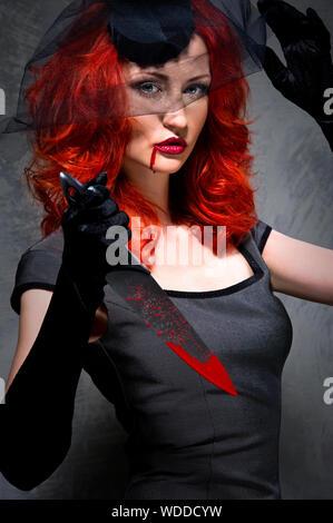 Portrait de femme en costume à l'Halloween Banque D'Images