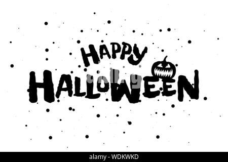 Happy Halloween effrayant Texte de bannière avec Jack O Lantern citrouille spooky. Carte de vœux vecteur modèle design lettrage invitation illustration Banque D'Images