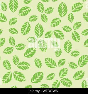 Modèle vectoriel continu vert avec des feuilles de fraisier. Pour le tissu, impression d'écran conception Banque D'Images