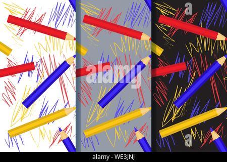 Ensemble de trois modèles sans couture avec des crayons colorés et de dessins d'enfants. Vector EPS10. Masque de découpe appliquée. Banque D'Images