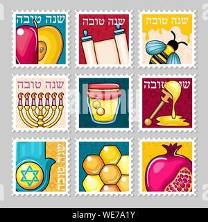 Roch Hachana stamp. Shana tova. Heureux et douce nouvelle année en hébreu Banque D'Images